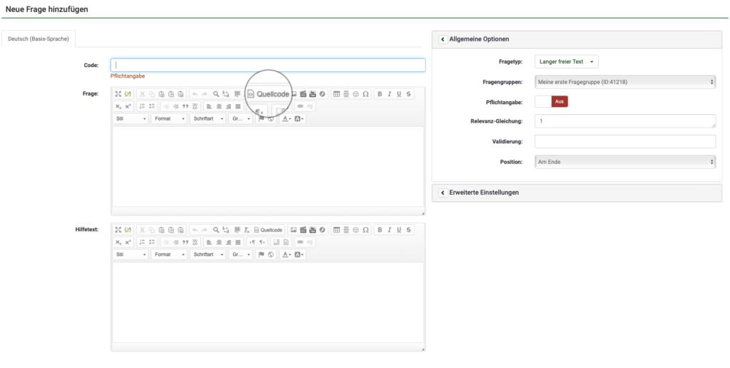 Screenshot aus LimeSurvey. Neue Frage hinzufügen