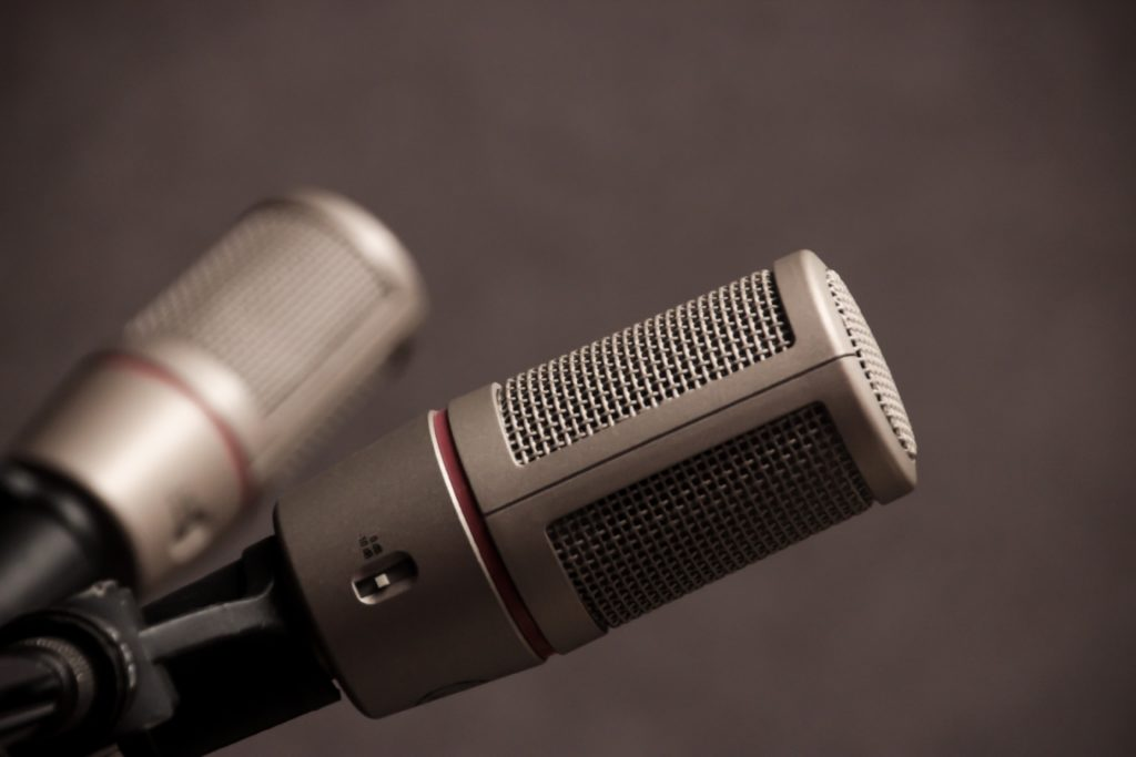 two gray microphones